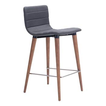 "Zuo Modern 100272 Jericho Counter Chair (Set of 2), Gray, Slim Seat/Back Design, Sturdy all Wood Legs in Warm Walnut Finish, Slim Chrome Footrest, Dimensions 16""W x 34.3""H x 18.9""L"