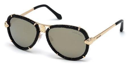 Roberto Cavalli Shades (Roberto Cavalli Mebsuta RC 885S 885/S 28C Black/Gold Leather Aviator Sunglasses)