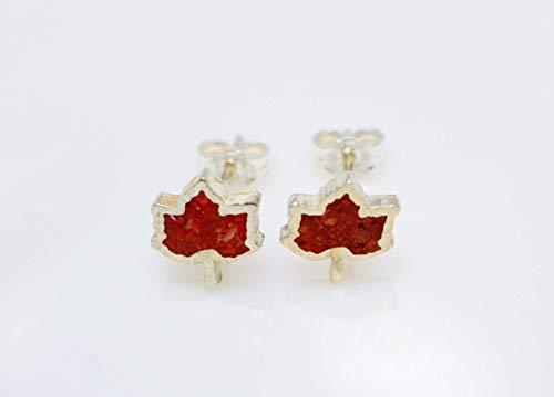 - Maple Leaf Coral Micro Mosaic Sterling Silver Stud Earrings, Semi Precious Gemstone by Handmade Studio