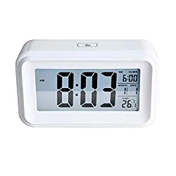 Affyrex Home LED Digital Alarm Clock for Bedrooms, Office Desk, and Kids with Dual USB Outlet Powered and Battery Operated, Touch Activated Night Light with Date and Temperature (White)