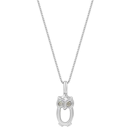 Damiani Gold Necklace - Damiani Bliss Special Moments 18K White Gold Owl Necklace 0.01 Cttw 1.97 g