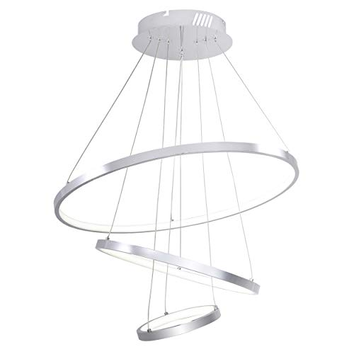 Modern Pendant Light, Adjustable LED Ceiling Fixture with 3 Rings, Round Shape Chrome Chandeliers with Daylight for Living Room Bedroom Dinning Room
