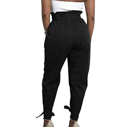 Battercake Negro Pantalones Harén Vendaje Mujer Alto Talle Zanahoria Bowknot Color Casuales Sólido Cómodo De rrTdxgOwq