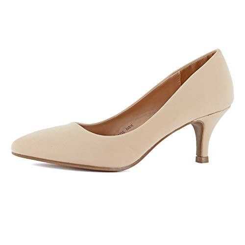 Guilty Shoes Womens Closed Pointy Toe High Mid Stiletto Heel - Party Dress Slip On Pump (8 M US, Beige Nubuck)