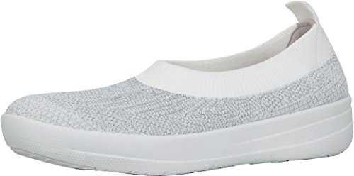 FitFlop Women's Uberknit Ballerina Walking Slip-On Metallic Silver/Urban White cheap sale recommend CqOVAujrOB