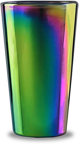 (Circleware 76871 Rainbow Fusion Set of 4-16.9 oz Heavy Base Highball Drinking Glasses, Beverage Glassware for Water, Beer, Liquor, Whiskey, Bar and Decor Gifts 4pc)