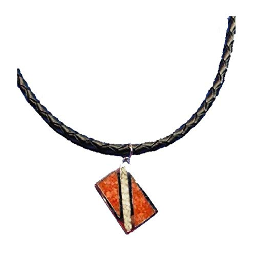 Dive Flag Pendant - Tarnish-Free Rhodium-Plated Bronze, with Inlay of Simulated Red Coral and Mother-of-Pearl Chips, on Black, Braided, Genuine Leather Cord with Extender