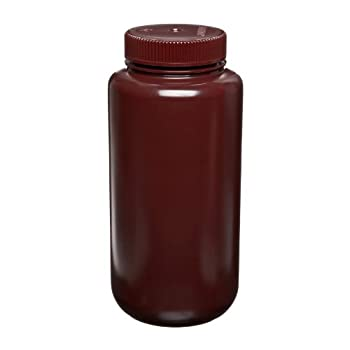 Dynalon 301825-1000 1000mL, Plastic (PP) Amber Wide Mouth Lab Sample Bottle (Pack Of 5)