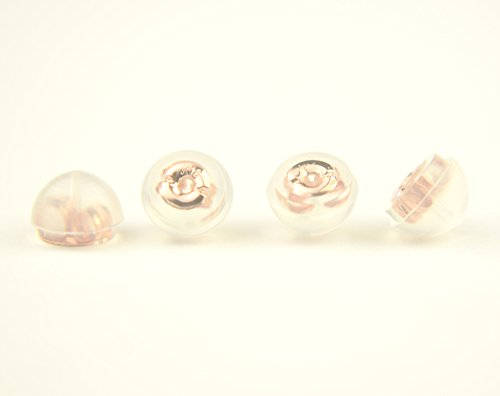 Earring Backs Soft Clear Silicone and 14k Rose Gold Small 2 Pairs Made in Japan