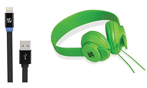 - Scosche lobeDOPE Full Spectrum On-Ear Headphones with 3FT Lightning Charge & Sync Cable LED Indicator-Green/Black