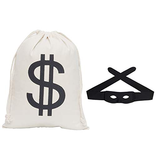 (Secaden Dollar Sign Money Bag 16 x 12 inch Drawstring Pouch Bandit Robber Thief Cosplay Props with Gift Black Eye)