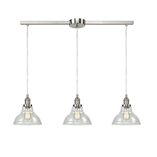 - EUL Brushed Nickel Island Lighting 3-Light Vintage Pendant Lamp with Clear Glass Shades