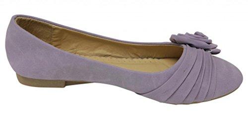 Anna Smile-4 Mujeres Ballerina Deslizamiento Plano En Barco Holgazán Plisado Flor Floral Pu Zapatos Púrpura