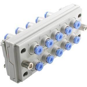 SMC KDM10P-08 - SMC KDM10P-08 Pneumatic Manifold, Series Compatibility: KDM10, Plug-in Elec. Connect, 10 Stations, Bracket Mount