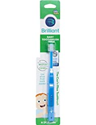 Brilliant Baby Toothbrush by Baby Buddy - for Ages 4-24 Months, BPA Free Super-Fine Micro Bristles Clean All-Around Mouth, Kids Love Them, Blue, 1 Count