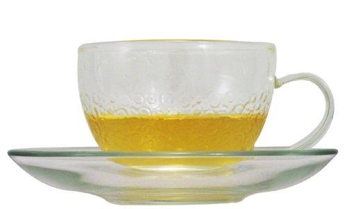 "Yama Glass ""Sassy"" Teacups and Saucers, 8-Ounce, Set of 2"