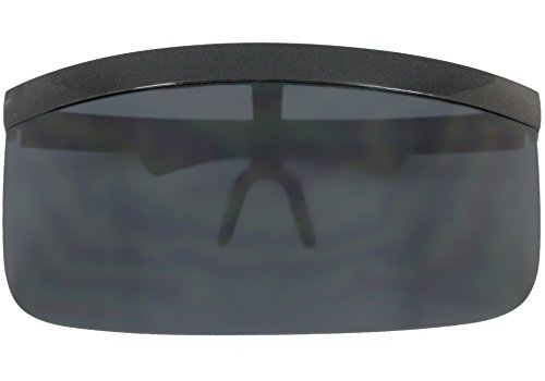 9165720ddf Elite Futuristic Oversize Shield Visor Sunglasses Flat Top Mirrored Mono  Lens 172mm (Black