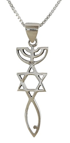 (AJDesign Sterling Silver Messianic Seal Pendant Spiritual Religious Jewelry Grafted Necklace Pendant with Chain (22))