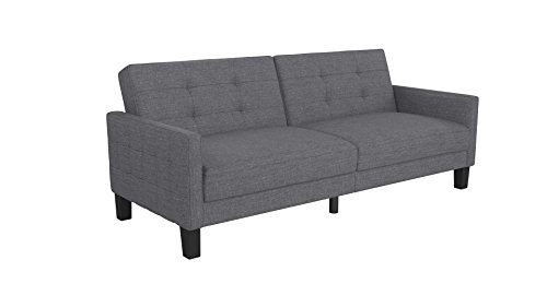 Novogratz Prescott Futon Sofa Bed in Rich Linen Upholstery, Modern Style with Track Arms, - Bed Futon Loveseat Sofa
