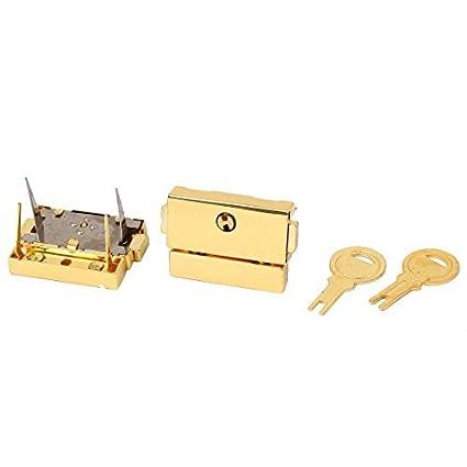 eDealMax Maleta cajón cerrojo Cajas cierre de barra de bloqueo Pestillo tonos oro 2pcs