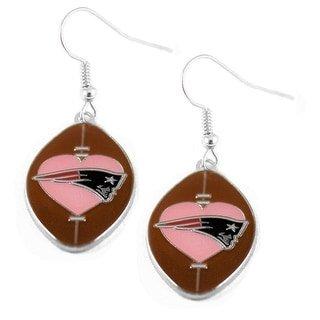 (Sports Team New England Patriots Pink Heart Dangle Football Earring Set)