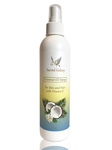 Coconut Oil For Hair and Skin Spray by Sacred Galaxy - Natural and Non Scented (Glossing Cleanser)