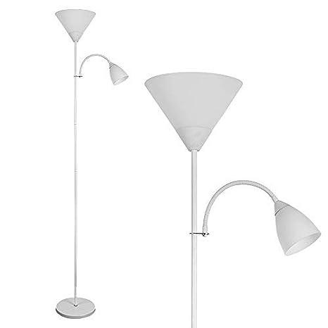 MiniSun - Moderna lámpara de pie Mozz - Estilizada, acabado blanco brillante, pantalla satinada y 2 focos: principal y luz de lectura