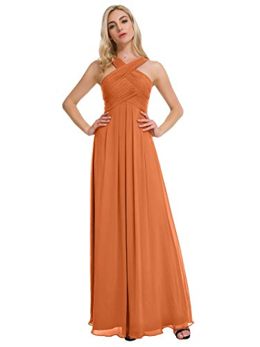 Alicepub Pleated Chiffon Bridesmaid Dresses Formal Party Evening Gown Maxi Dress for Women, Orange, US6 (Burnt Orange Bridesmaid Dresses)