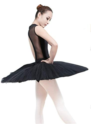 WENDYWU Women Professional Swan Ballet Tutu Dress Hard Organdy Platter Performance Leotard Skirt (S, Black)]()