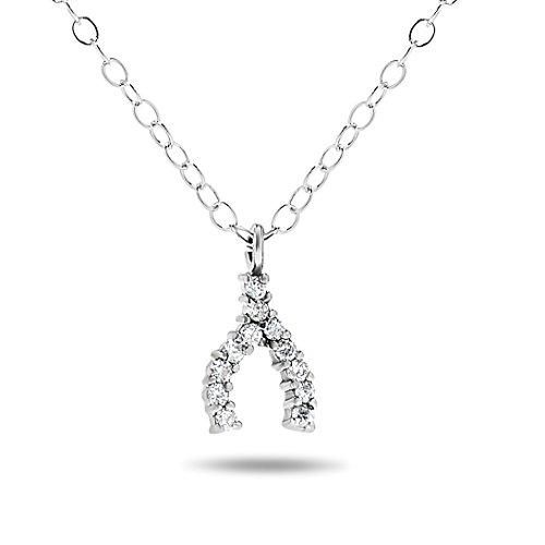 10k White Gold Wish Bone Diamond Pendant Necklace - Diamond Wishbone Necklace