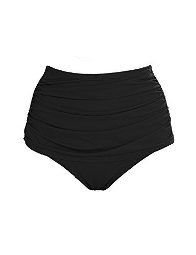 Utyful Women's High Waist Swim Bottom Solid Ruched Bikini Tankini Swimwear Briefs Black Color, Size (Full Back Bikini)