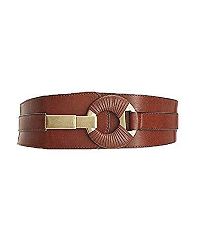 (Style & Co Women's Tan Leather Semi-Wrap Interlock Stretch Belt (S/M))