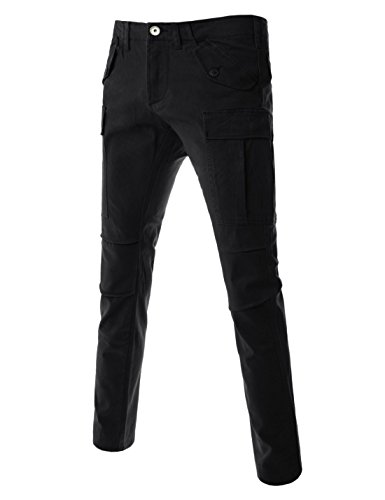 (TLP27) Regular Fit Bellowed Pocket Knee Tuck Twill Cargo Pants Outdoors Wear BLACK 36W/32L (Tag size XX-Large) - 5 Pocket Washed Corduroy Pants