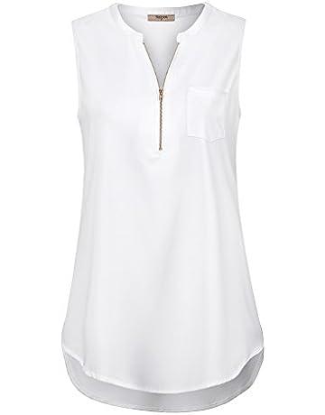 7b8b1f64219f00 Timeson Women s Casual V Neck Sleeveless Tunics Blouses Chiffon Zipper Tank  Tops