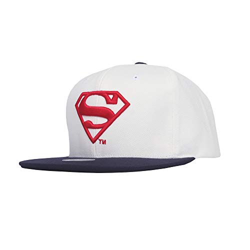 WITHMOONS Superman Shield Embroidery Baseball Cap Snapback Hat ST21176 (White)