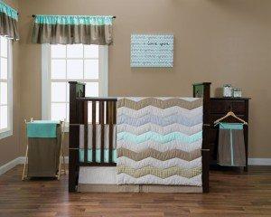 - Trend Lab Cocoa Mint 9-Piece Complete Crib Bedding Set