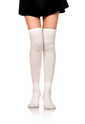 Stocking Wool (DoSmart Women Girls' Winter Warm Leggings Boot Stockings Knee High Wool Socks (White))