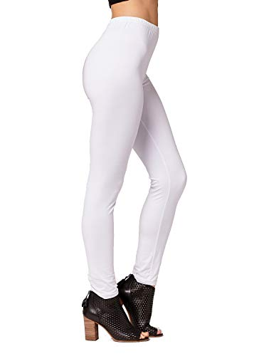 Conceited Super Soft High Waisted Leggings for Women - Opaque Full Ankle Length - Super White - Plus Size (12-24)