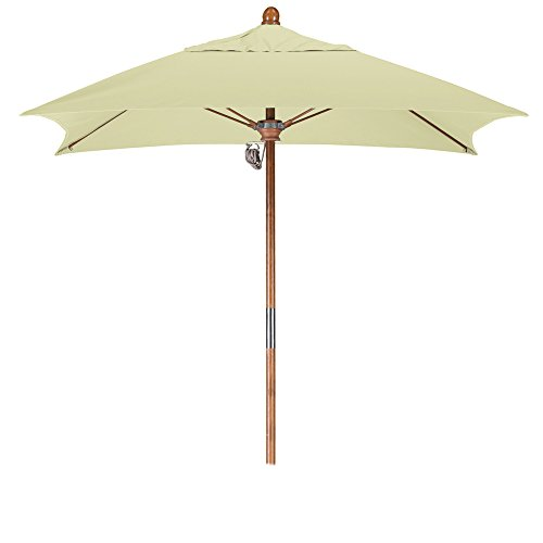 California Umbrella 6' Square Hardwood Pole Fiberglass Rib Market Umbrella, Stainless Steel Hardware, Pulley Lift, Sunbrella (6 Foot Square Patio Umbrella)