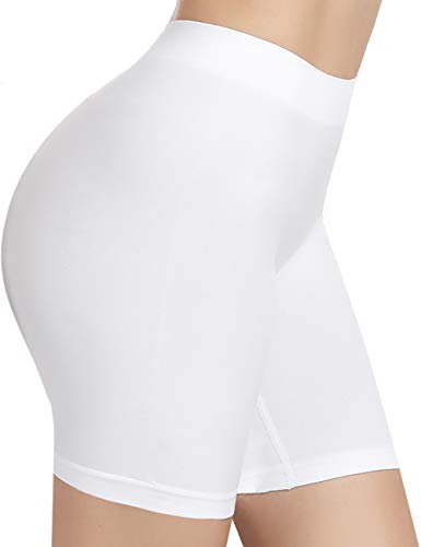 BESTENA Women's Comfortably Smooth Slip Short Panty(White,Large)