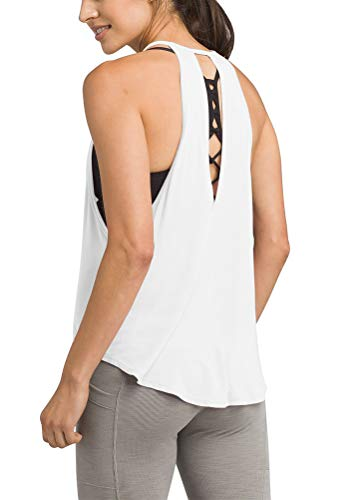 Bestisun Women's Fitness Gym Tank Tops Workout Sports Outfits Yoga Training Clothing Basic Solid Exercise Shirts Backless Halter Top Muscle Relaxed Shirts Running Training Wear White M