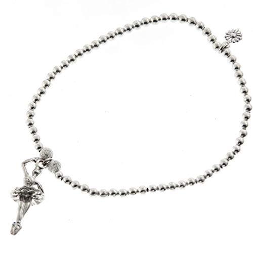 FIFIROSE 7'' 3D Ballerina Dancer Charm Italian Beads 925 Sterling Silver Bracelet YE-1465