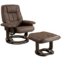 Furniture of America Galo 2-Piece Leatherette Swivel Recliner and Ottoman Set, Brown