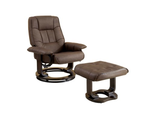 Furniture of America Whitby Swivel Leather Lounge Chair with