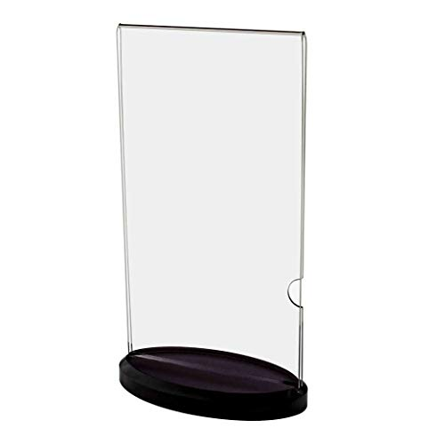 Marketing Holders Sign and Menu Holder with Black Oval Base Acrylic Table Counter Top Literature Flyer Display Frame ()