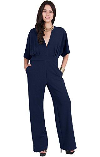 Viris Zamara Plus Size Womens Long Sexy V-Neck Short Sleeve Slimming Pockets Wide Leg Work Office Party Semi Formal Spring Jumpsuit Jumpsuits Pantsuit Playsuit Romper, Navy Blue XL 14-16