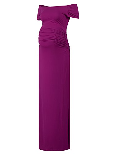 Black Cherry Women's Off Shoulder Short Sleeve Maternity Casual Maxi Dress Purple