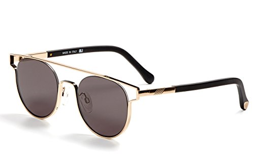 Handmade Optics - ILL.I Optics by will.i.am Metal Outline Sunglasses with Floating Round Lens. One Size Gold