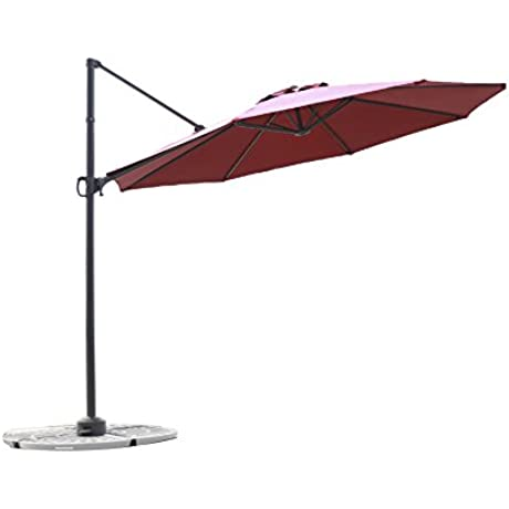 C Hopetree 10 Ft Deluxe Offset Cantilever Outdoor Patio Umbrella 360 Rotation Infinite Tilt Action With Free Storage Cover Olefin Canopy Red