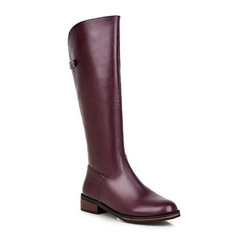 top Round Women's High Heels Purple Zipper Allhqfashion Low Closed Toe Boots Solid Exp6ndq